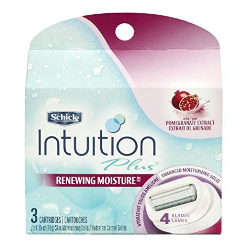 Schick Intuition Plus Renewing Bikini Razor Refill - Pomegranate, 3-count (Pack of 3)