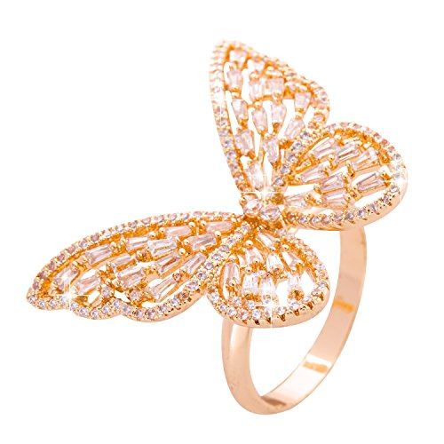 NAWAY Fashion White Rose Gold Plated Cut CZ Crystal Jewelry Wedding Engagement Flying Butterfly Ring for Women