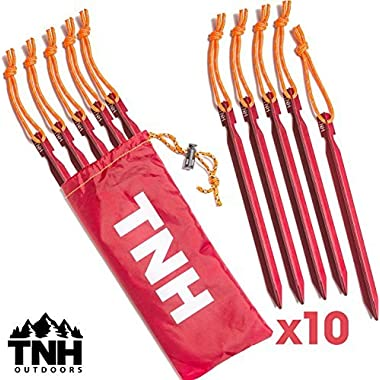 10X Tent Stakes & Bag - 0.5 oz - Reflective Rope - Lifetime Warranty