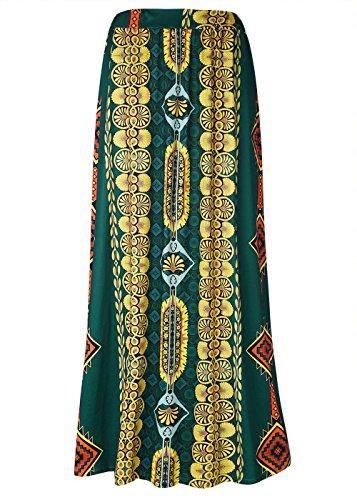 Falda larga de Boho del verano de las mujeres Falda ocasional de la playa de la impresión de Paisley Como se muestra