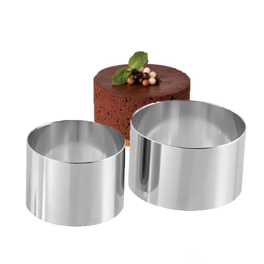 2PCS 18/8 Stainless Steel Food Tower Presentation Cooking Rings︳ Premium Food Grade Stainless Steel Dessert Rings Molding︳Layering Cake Cutter Cake Rings Mousse Rings︳Desserts Making︳3 Inch and 4 Inch