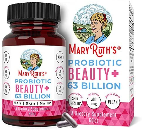 Vegan Probiotics for Women 63 Billion CFU by MaryRuth's – 2-in-1 Probiotic + Organic & Plant Based Collagen Immune Booster + Biotin for Hair, Skin & Nail Health – Non-GMO – Glass Bottle