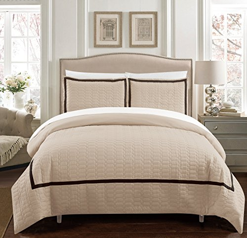 Chic Home Faige 2 Piece Duvet Cover Set Hotel Collection Two Tone Banded Print Zipper Closure Bedding - Decorative Pillow Sham Included Twin Beige - Two Tone Bath Light