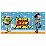 Toy Story Woody and Buzz Birthday Banner Personalized Party Backdrop Decoration