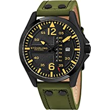 Stuhrling Original Mens Analog Black Stainless Steel Sport Aviator Watch, Quick-Set Day-Date, Casual Green Leather Strap