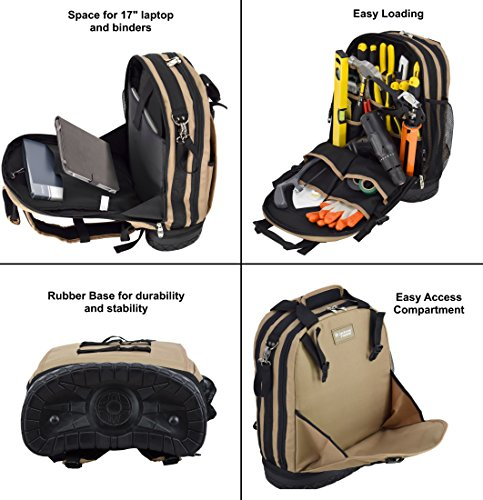 Jackson Palmer Professional Tool Backpack, Comfort-Design with Optimized Pockets (Carpenters Tool Bag with Rubber Base) by Jackson Palmer (Image #4)