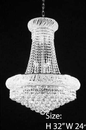 French Empire Crystal Chandelier Chandeliers H32 X W24 – Good for Dining Room, Foyer, Entryway, Family Room and More