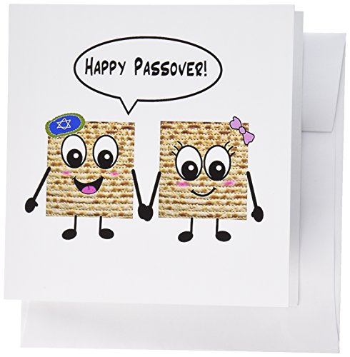 Jewish Wedding Invitations - 3dRose Happy Passover - Smiley Matzah cartoon - Happy Smiling Matzot for Pesach - Jewish Holiday- Greeting Cards, 6 x 6 inches, set of 12 (gc_76636_2)