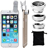 XCSOURCE® clip 180 Degree Fish Eye Lens + Wide Angle + Micro Lens Kit for iPhone 4 4S 4G 5 5G 5S Samsung Galaxy S3 i9300 S4 i9500 cell phone (silver)