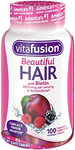 Vitafusion Vitafusion Beautiful Hair Gummy Vitamins, 100ct, Berry Plum, 100 Count