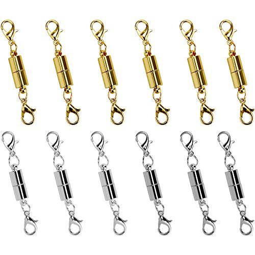 I-MART 12 Pcs Gold Color and Silver Color Tone Magnetic Lobster Clasp for Jewelry Necklace Bracelet