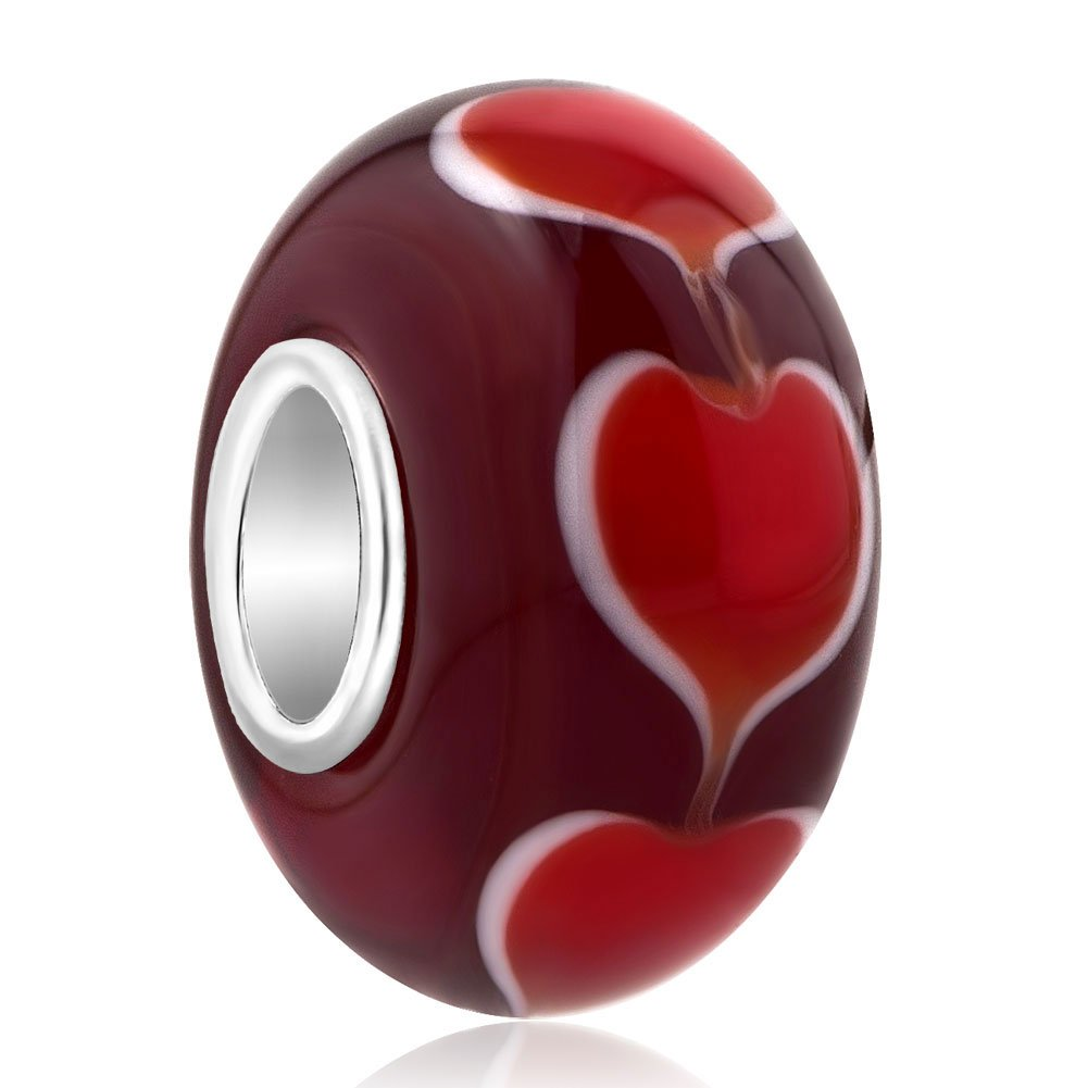 Charmed Craft 925 Sterling Silver Core Beads Heart Murano Glass Charms Fit European Beacelets pandöra charms GB_TJYSSS19_X02