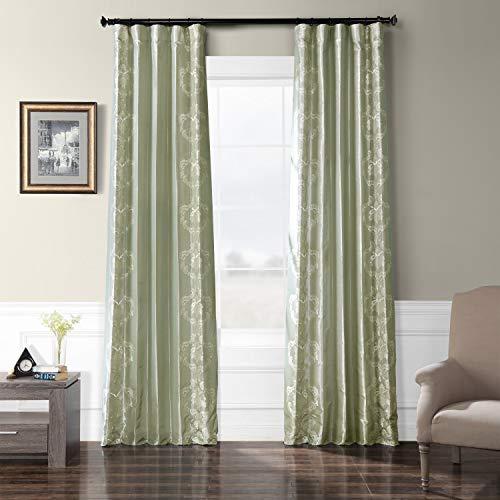 (HPD Half Price Drapes EFSCH-18051B-96 Embroidered Faux Silk Taffeta Curtain 50 x 96 Anastasia Sterling)