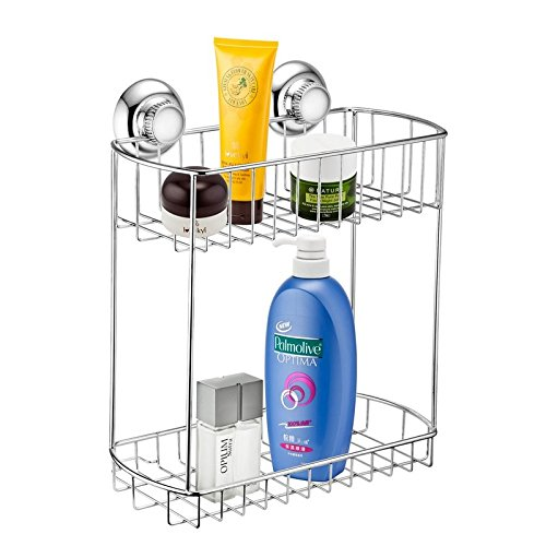 MaxHold No-Drilling/Suction Cup Double Rectangular Caddy - Vaccum System - Stainless Steel Never Rust - for Bathroom & Kitchen Storage