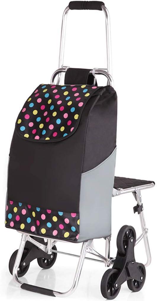 Carrello pieghevole con triciclo in gomma silenzioso, carrello per la spesa Carrello con scalino in acciaio inox blu 44 x 94 x 49 cm grande capacità di circa 50 kg, con sgabello