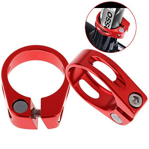 Mantain Bike Bicycle Seat Post Clamp Aluminum Alloy 31.8MM/34.9MM Black/Red with Hex Tool (2 ps 31.8mm R)