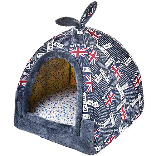(Hanshu 2 In 1 Pet House and Sofa Indoor Soft Warm Washable Igloo Pyramid Cat Dog Beds,(Jack Flag, M) )