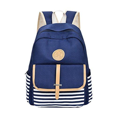 Clearance On Sale Litetao Canvas School Students Backpack Preppy Shoulder Bookbags for Teens Girls Boys High School College Laptop Schoolbag Big Leisure Casual Travel Bag School Season (Blue) -
