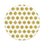 iPrint Polyester Round Tablecloth,Gold White,Snowflake Like Party Themed Floral Stars Geometrical Edges Image,Yellow White,Dining Room Kitchen Picnic Table Cloth Cover Outdoor Indoor