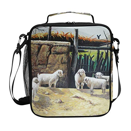 Brighter Oil Painting Sheep Warm Pouch Lunch Bags Lunchbox Meal Picnic Handbags Travel Food Gourmet Bento Container Tote for Office School Work