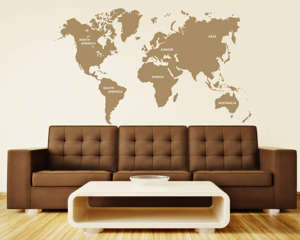 Wandtattoo Weltkarte in verschiedenen Größen und Farben (150 x 88 cm, hellbraun)