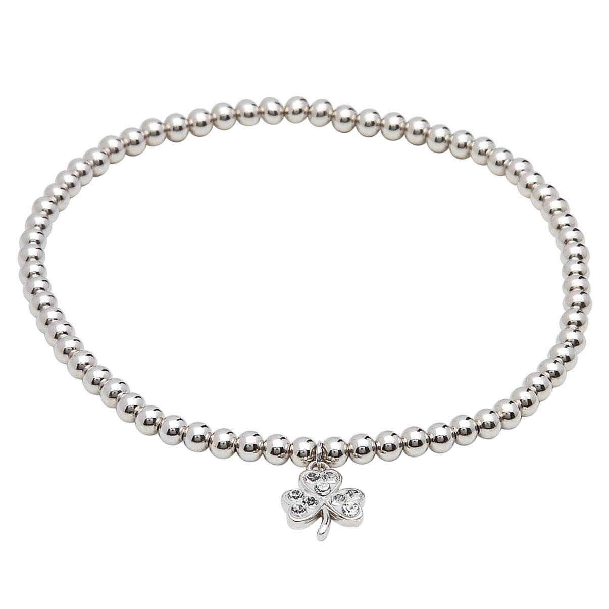 Hallmarked Sterling Silver Shamrock Bracelet With White Swarovski Crystal