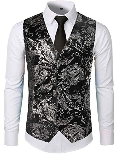 ZEROYAA Mens Hipster Silver Paisley Single Breasted Suit Dress Vest/Tuxedo Waistcoat Z49 Silver Medium