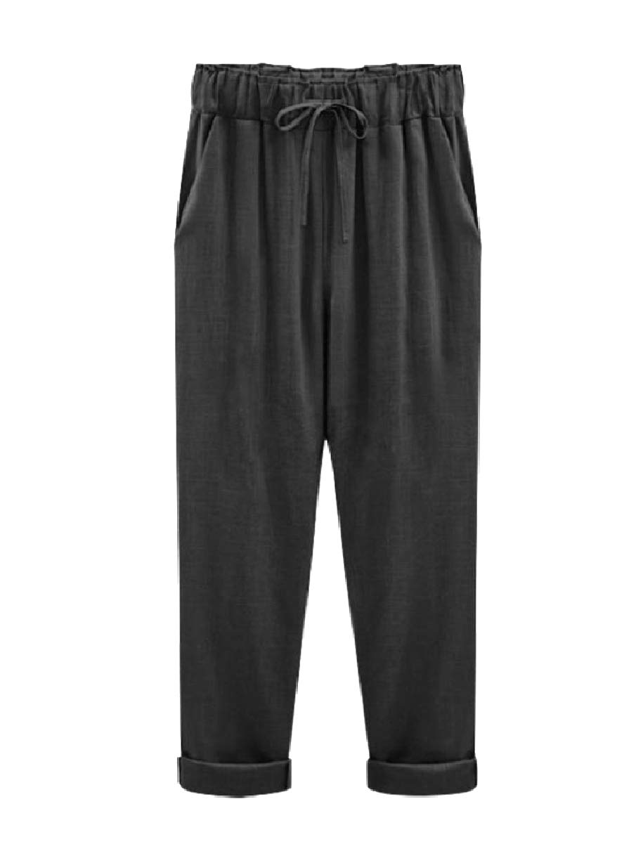 Fseason-Women Harem Plus Size Solid Trousers Fine Cotton Tenths Pants 1 3XL