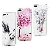 3 Pcs iPhone 8 Plus Case ,iPhone 7 Plus Case 3 Pieces Slim Flexible Soft Silicone Rubber Bumper Covers Shockproof Cases for iPhone 7 Plus / iPhone 8 Plus 5.5' Butterfly Shoe/Pink Tree/Elephant