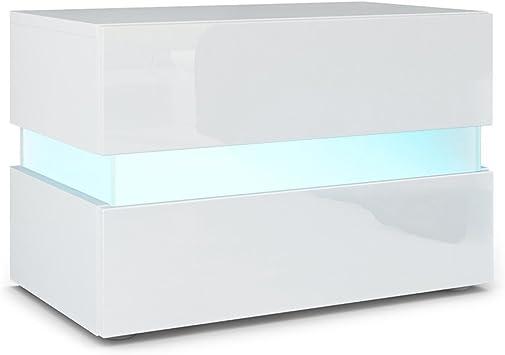 Vladon Table De Chevet Flow Corps En Blanc Matfaçades En Blanc Haute Brillance Avec Léclairage Led