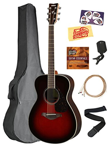 Yamaha FS830 Solid Top Small Body Acoustic Guitar – Tobacco Sunburst Bundle with Gig Bag, Tuner, Strings, Strap, Picks, Austin Bazaar Instructional DVD, and Polishing Cloth