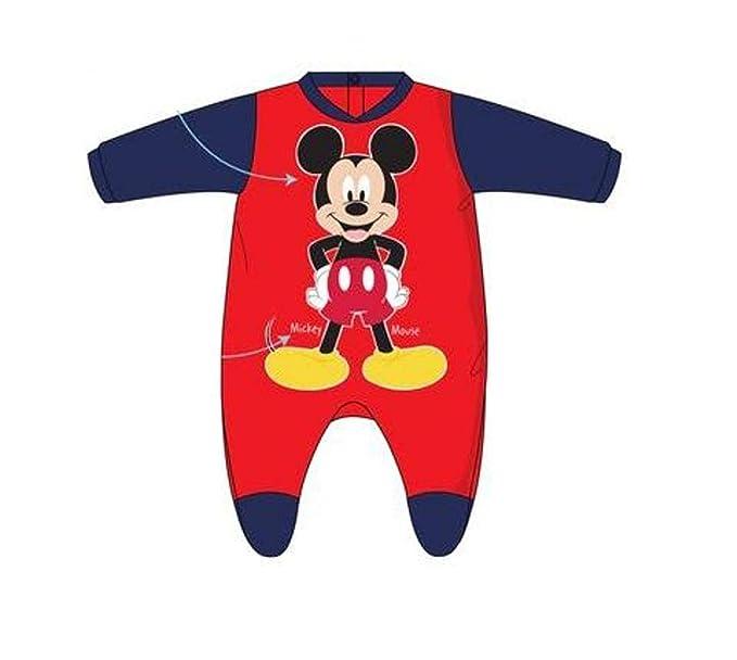 MICKEY Pelele Terciopelo Mouse Bebé Rojo y Azul (6 Meses)