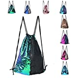 Sports Backpack Bag,Mermaid Sequin Drawstring Backpack Reversible Glitter Drawstring Backpack Fashion Bling Shining Bag