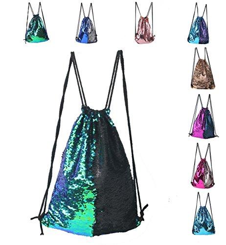 Sports Backpack Bag,Mermaid Sequin Drawstring Backpack Reversible Glitter Drawstring Backpack Fashion Bling Shining Bag