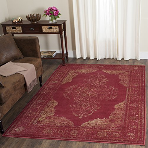 Safavieh Vintage Premium Collection VTG122-6220 Transitional Oriental Rose Distressed Silky Viscose Area Rug (5'3