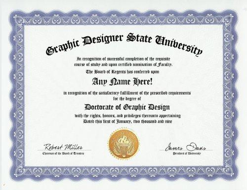 Graphic Designer Graphic Design Degree  Custom Gag Diploma Doctorate Certificate  Funny Customized Joke Gift   Novelty Item
