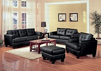 4 PCs Black Classic Leather Sofa, Loveseat, Chair, And Ottoman Set