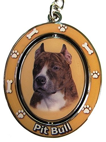 E&S Pets KC-26 Brindle and White Pit Bull Spinning 2 Sided Key Chain