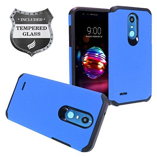 LG K30 LM-X410, Phoenix Plus X410AS, Harmony 2, Premier Pro LTE L413DL - Rubberized Hybrid Hard Case + Tempered Glass Screen Protector - AH2 Blue Blue Rubberized Protector Case