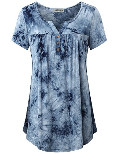 Light Blue Tie Dye - V Neck Blouses for Women,Womans Henley V Neck Short Sleeve Tee Shirt Unique Graceful Button Front Design Pleated Tunic Tops Business Casual Lightweight Clothes Navy Blue XXL