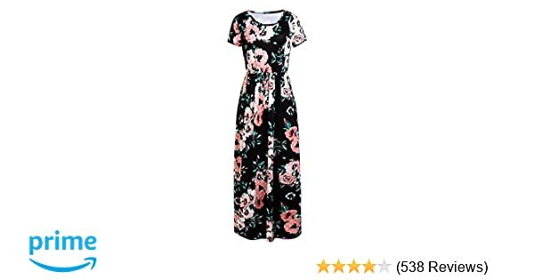 2ff5e2c1f40e YUMDO Women s Short Sleeve Floral Printed Maxi Dresses Summer Dress with  Pockets Black S at Amazon Women s Clothing store