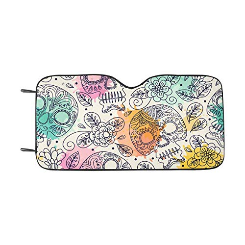 INTERESTPRINT Skull Mexican Day of The Dead Front Windshield Sun Shades, Accordion Folding Auto Sunshades for Car Truck SUV