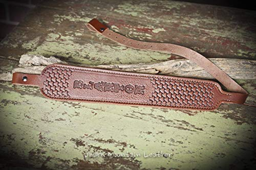 Leather Rifle Sling Customizable -padded- Cobra Style Hand tooled Brown
