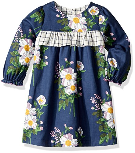 Pink Chicken Baby Girls' Eve Dress, Dress Blue Floral/Tattersall, 12/18 Mos by Pink Chicken
