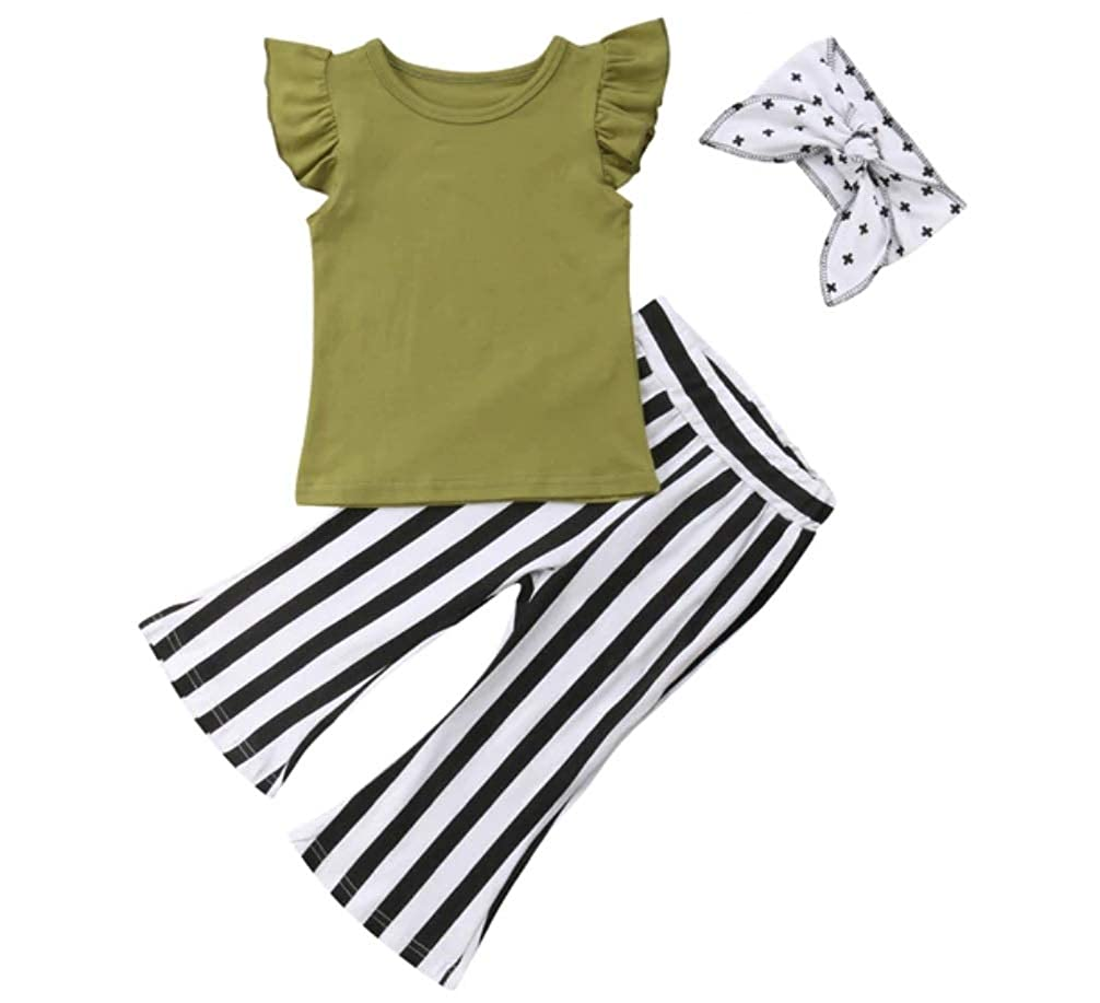 Outfits for Toddler Girls Clothes Sets Off 3 Pcs Pant Bell Bottom Toddler Girls Rompers and Jumpsuits