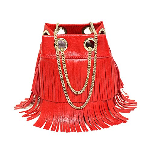 with Crossbody Fringe Bag Drawstring Bag Chain Remeehi Bucket Red Shoulder waCqWZZS