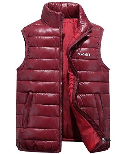 Gocgt Down Jacket Wine Short Coat Men's Ultralight Vest Puffer Red Waistcoat Zip Full Packable tztqFw7cxr