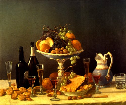 STILL LIFE GRAPES IN BOWL 1850 CHEESE NUTS WINE DESSERT PAINTING BY JOHN FRANCIS LARGE CANVAS REPRO