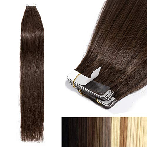 (Tape In Human Hair Extensions 100% Remy Human Hair 20 pieces Human Hair Soft Silky Straight 18