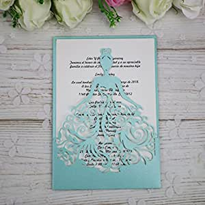 PONATIA 25PCS Lacer Cut Wedding Invitations Card Hollow Bride Invitations Cards for Wedding Bridal Invitation Engagement Invitations Cards (Tifny Blue)